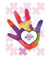 dia mundial do autismo com peças de mão e quebra-cabeça vetor