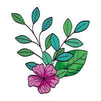flor fofa cor roxa com ramos e folhas