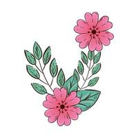 flores fofas rosa com ícone isolado de ramos e folhas vetor