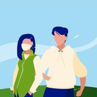 avatar de mulher e homem com máscara fora do desenho vetorial vetor