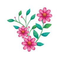 flores bonitas rosa com ícone isolado de ramos e folhas