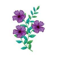 flores roxas fofas com ícone isolado de ramos e folhas