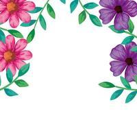 moldura de flores rosa e roxa com folhas
