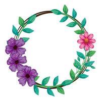moldura circular de flores com ramos e folhas