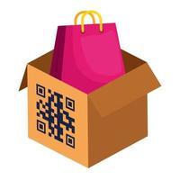 código qr sobre design de vetor de caixa e bolsa