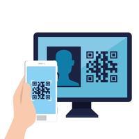 código qr dentro do design de vetor de computador e smartphone