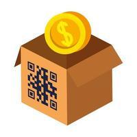 código qr sobre design de vetor de caixa e moeda
