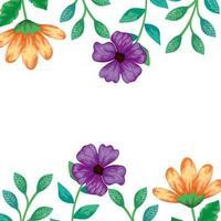 moldura de flores com ramos e folhas