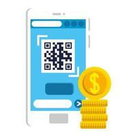 código qr dentro do design do vetor de smartphone e moedas