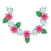 decoração de flores fofas cor-de-rosa com ramos e folhas
