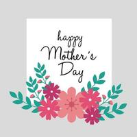 cartão de feliz dia das mães com moldura quadrada e decoração de flores vetor