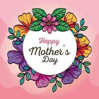 cartão de feliz dia das mães e moldura circular com decoração de flores vetor