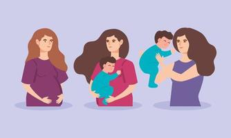 mulheres fofas grávidas de meninos vetor