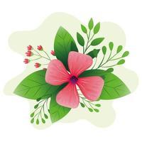 flor fofa cor rosa com folhas vetor