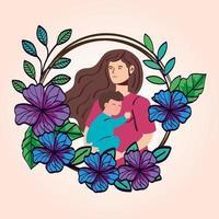 mulher grávida carregando um menino com decoração de flores vetor