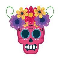 crânio mexicano isolado com desenho vetorial de coroa de flores