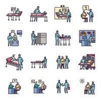 conjunto de ícones médicos de coronavírus vetor