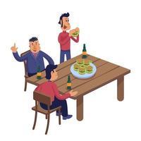 amigos do sexo masculino na ilustração vetorial de desenho animado de pub vetor