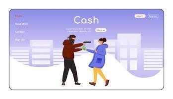 modelo de vetor de cor lisa para página de destino para roubo de dinheiro
