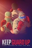 cartaz de conscientização para encorajar os profissionais de saúde que arriscam suas vidas na linha de frente durante a crise pandêmica