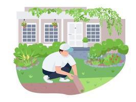 pátio verde, gramado cuidados 2d vetor web banner, pôster