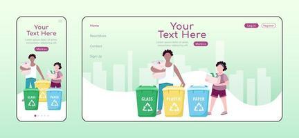 recipientes para classificação de lixo modelo de vetor de cor plana de página de destino adaptável