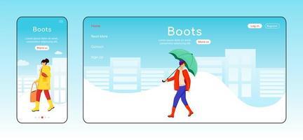modelo de vetor de cor plana de página de destino de botas