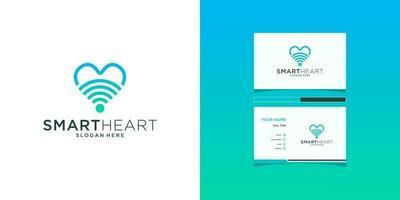 modelos de logotipo de sinal de amor e design de cartão de visita vetor