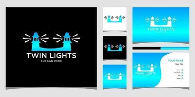 modelos de logotipo com luzes gêmeas e design de cartão de visita vetor
