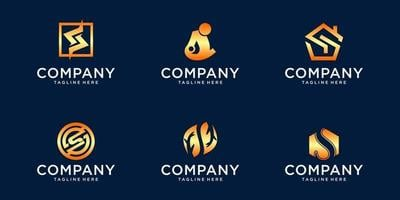 pacote de logotipo gradiente s vetor
