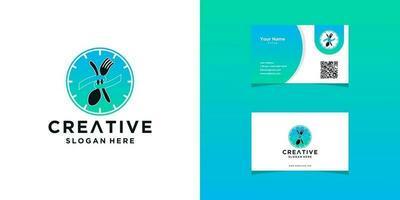 modelos de logotipo de restaurante e design de cartão de visita vetor