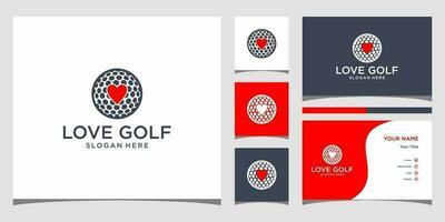 amo modelos de logotipo de golfe e design de cartão de visita vetor
