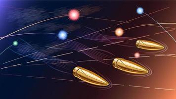 balas voando no campo de batalha de perto vetor