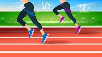vista lateral de corredores de fitness correndo na pista no estádio vetor