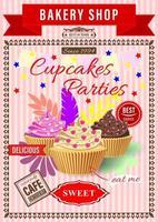 pôster para festas de cupcake, bolo com creme em uma tigela de waffle vetor