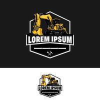 modelo de logotipo de escavadeira e retroescavadeira vetor