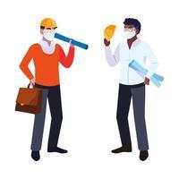engenheiro e arquiteto com máscara e capacete vetor