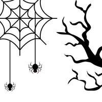árvore seca com ícone isolado de aranhas vetor