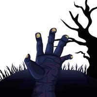 mão de zumbi para o dia das bruxas vetor