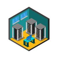 sala do servidor isométrica ilustrada em fundo branco vetor