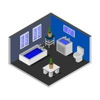 banheiro isométrico ilustrado em fundo branco vetor