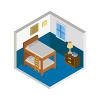 quarto isométrico ou quarto de hotel vetor