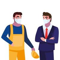 operador masculino e executivo com máscara e capacete vetor