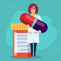 mulher médica segurando cápsula droga ilustração conceito de saúde vetor
