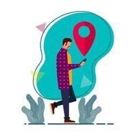 homem usando ilustração de aplicativo GPS em estilo simples