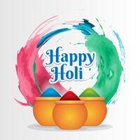 Happy Holi Festival com colorido Gulaal de cores Cumprimentando o fundo vetor