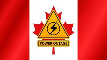 queda de energia, sinal de alerta amarelo no fundo da bandeira do Canadá vetor
