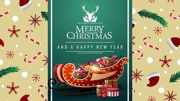 Feliz Natal e Feliz Ano Novo, lindo cartão postal com fita verde vertical, textura de Natal no fundo e trenó do Papai Noel com presentes