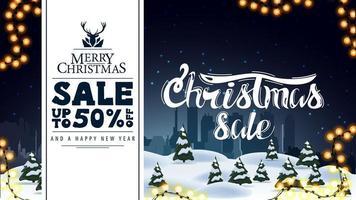 Feliz Natal, venda até 50 de desconto, desconto e banner de saudação com paisagem de inverno no fundo