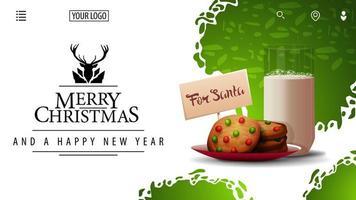 Feliz Natal e Feliz Ano Novo, cartão branco e verde para site com lindo logotipo de saudação e biscoitos com um copo de leite para o Papai Noel